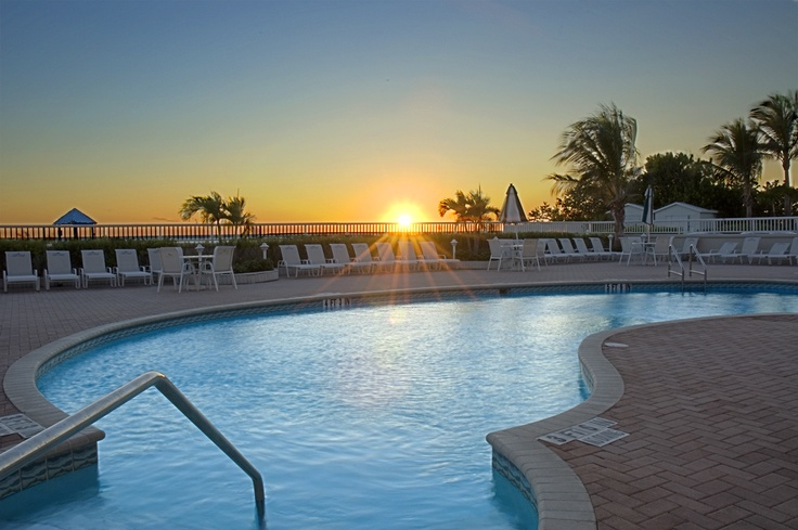 Lido Beach Resort, Sarasota, Florida at sunset.