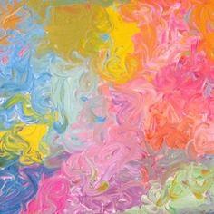 """Tableau art moderne acrylique sur toile 50x 50 cm """"ciel d' été"""""""