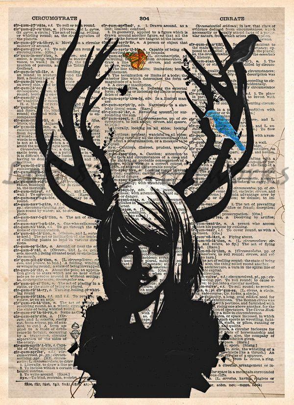 Girl with antlers, Deer girl art print, Dark fae, dictionary page art print
