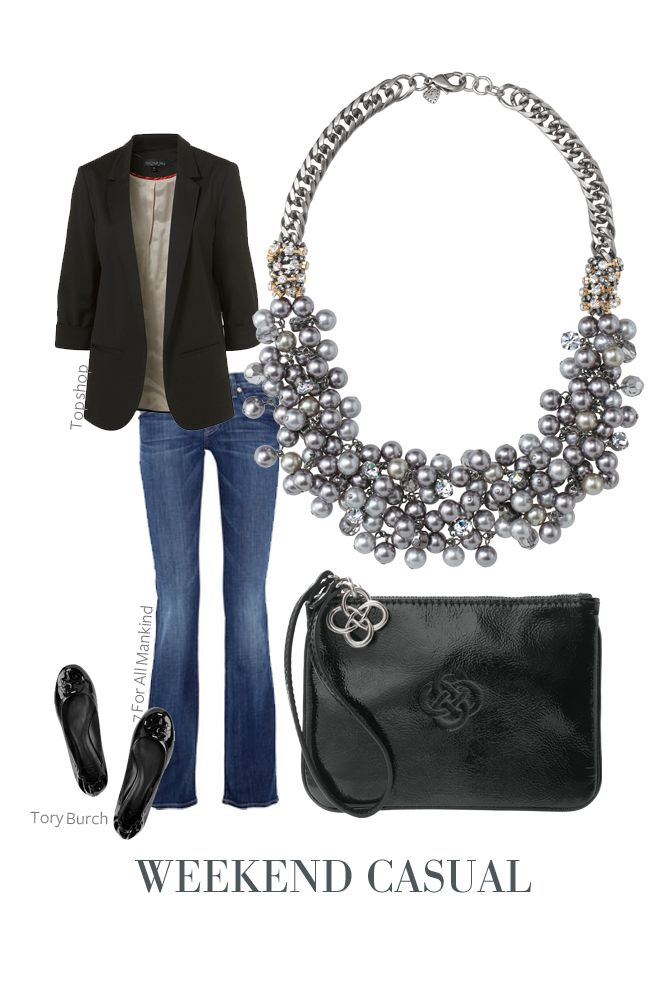 Black blazer and a statement necklace