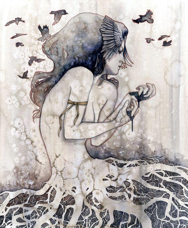 "Fester 20"" x 24"" watercolor on watercolor paper panel by Kelly McKernan"