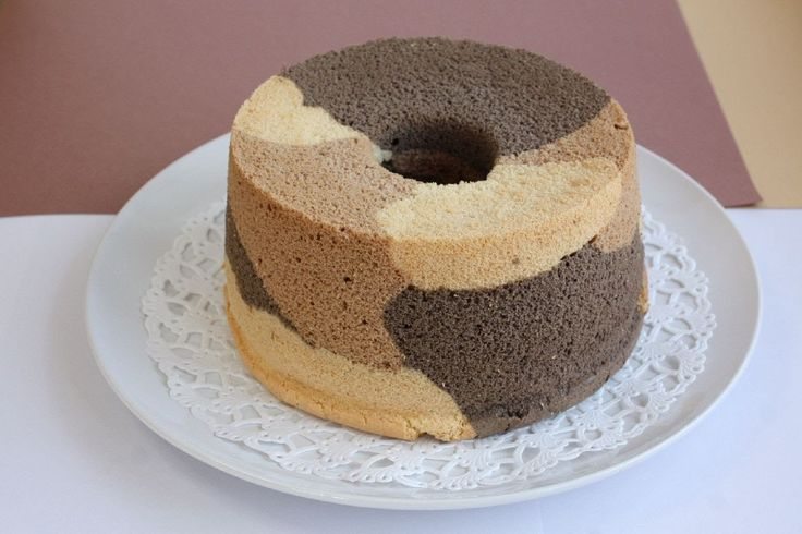 How to make Chiffon cake シフォンケーキ レシピ 三毛猫柄♪ - YouTube