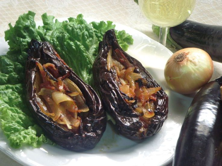 Papoutsakia. A delicious dish made with aubergines which falls into the category of 'ladera' or else food dipped in olive oil.