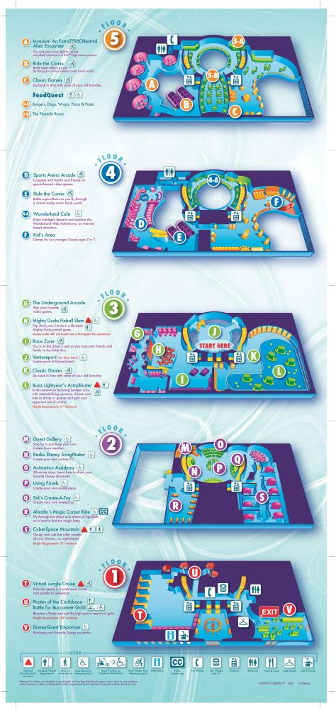 You'll find maps for Downtown Disney itself as well as Disney Quest and a seating chart for Cirque du Soleil