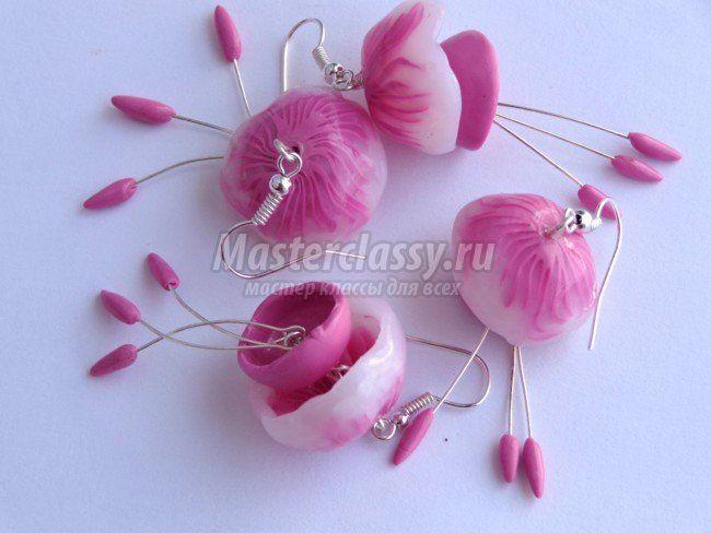 Серьги-медузы из запекаемой полимерной глины - tutorial