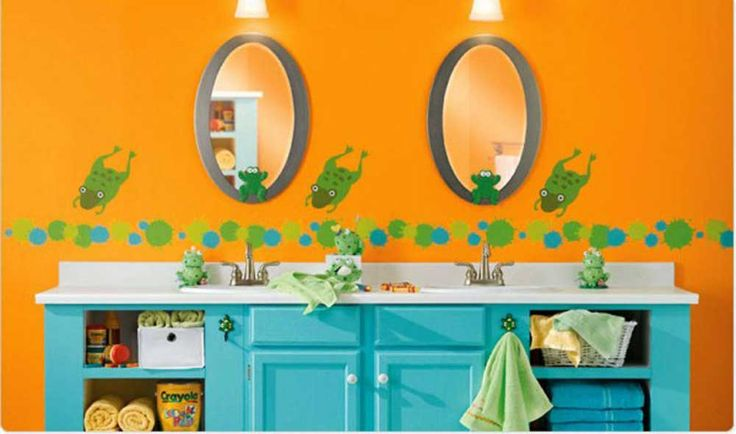 Orange Bathroom Paint Ideas with combinations green wall bathroom painting orange wall white stainless faucet twin round mirror twin gray round mirror frame blue wooden bas