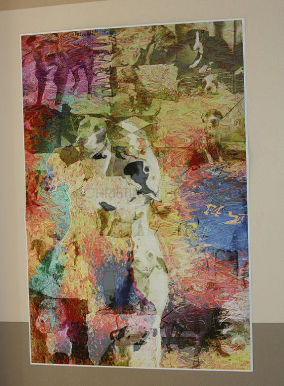 Pit Bull Abstract Rescue Art Ghosts of Los Angeles by Pupsketches, $95.00