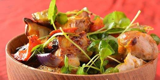 Roast chicken and vegetable salad