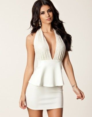 White front low cut peplum dress available from Lush in South Africa  #lushwear #fashion #fashion2015 #southafrica #dresses #peplum