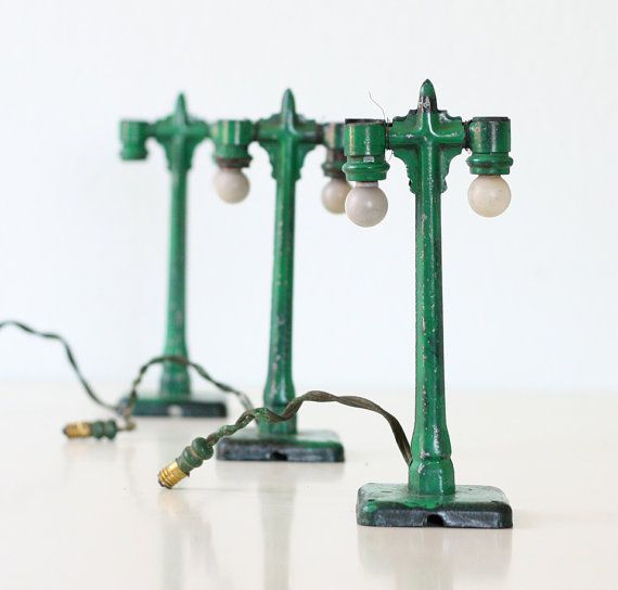Vintage Green Lamp Posts Model Train Lights Set of 3 by bellalulu, $ 62.00