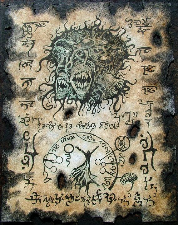 This listing is for a set of 2 Fragments from the Necronomicon , art prints for use as a prop in any type of fantasy rpg or larp gaming or just to frame For lovers of Lovecraft. One of the original Horror writers