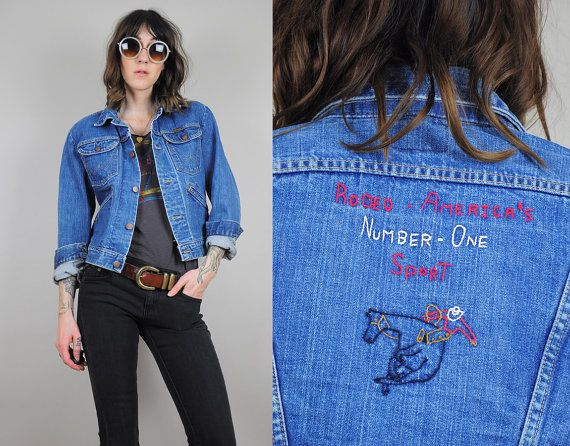 70's Hand Embroidered Wrangler jean jacket