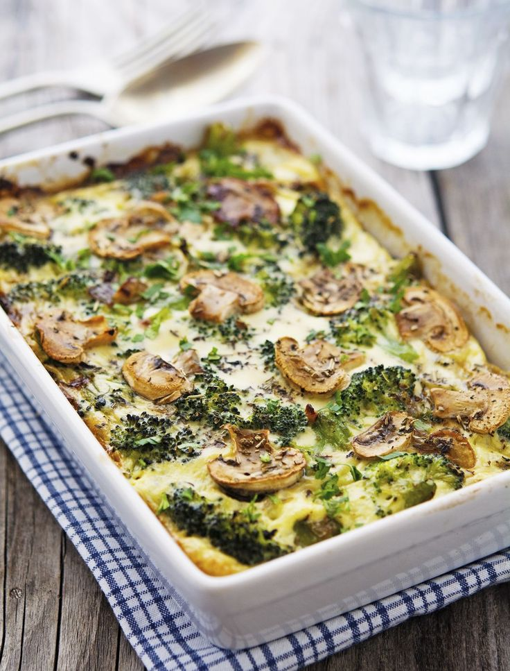 Creamy Broccoli and Mushroom Casserole. Sauteed mushrooms and steamed broccoli are mixed with eggs and coconut milk, then baked until golden brown and bubbly.  #halfyourplate
