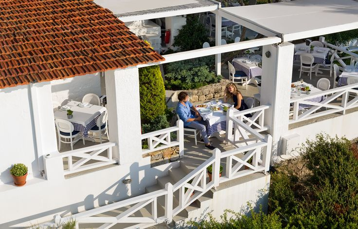 A simply wonderful setting at the Ouzerie of Sani Beach Club