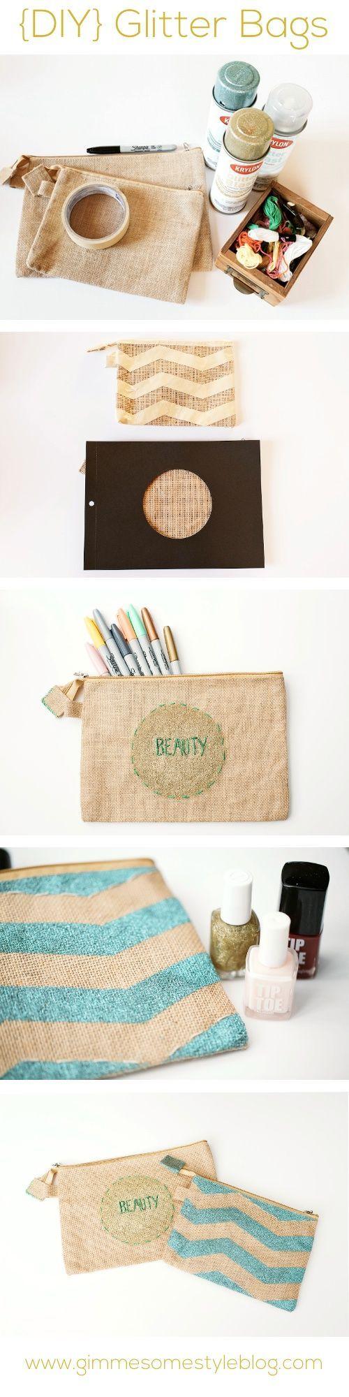 Cute idea to do a chevron glitter design on a canvas