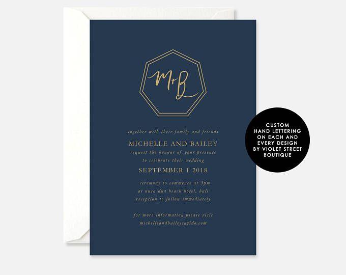 Printable Bali PDF Wedding Invitation, Navy Gold Invite, Printable Wedding Invite, Monogram, Classic Modern Invite, Crest Calligraphy Invite