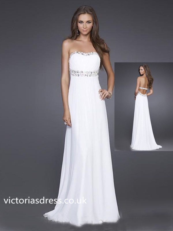 A-line Sweetheart Chiffon White Long Prom Dress