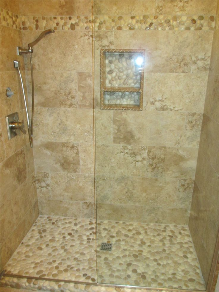 541 best bathroom pebble tile and stone tile ideas images for Pebble rock flooring diy