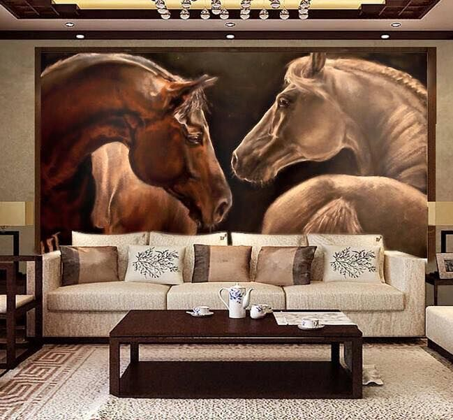HUGE art mural of horses. Covers the whole wall! Amazing horses!  One white, one red, looking at each other. Beautiful!  Please also visit for more colorful art and a few horse paintings you might like to pin from my website, please click here to see, www.JustForYouPropheticArt.com Pin as much as you like! Thanks for looking!