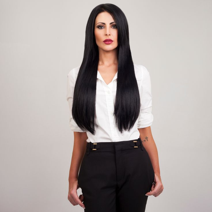 Jet Black FrontRow Hair Extensions on model Aimee :)  Available for purchase on www.frontrow.co.za