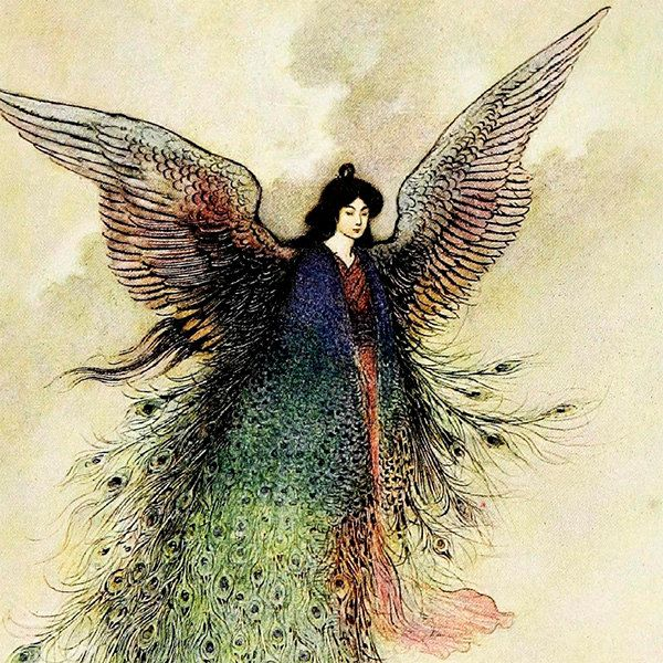 Warwick Goble ceramic decal, 10 x 10cm (3.94 x 3.94 inch), firing temperature 760-850 ºC (1400-1562 ºF), Fairy And Peacock ceramic decal door StainedGlassElements op Etsy