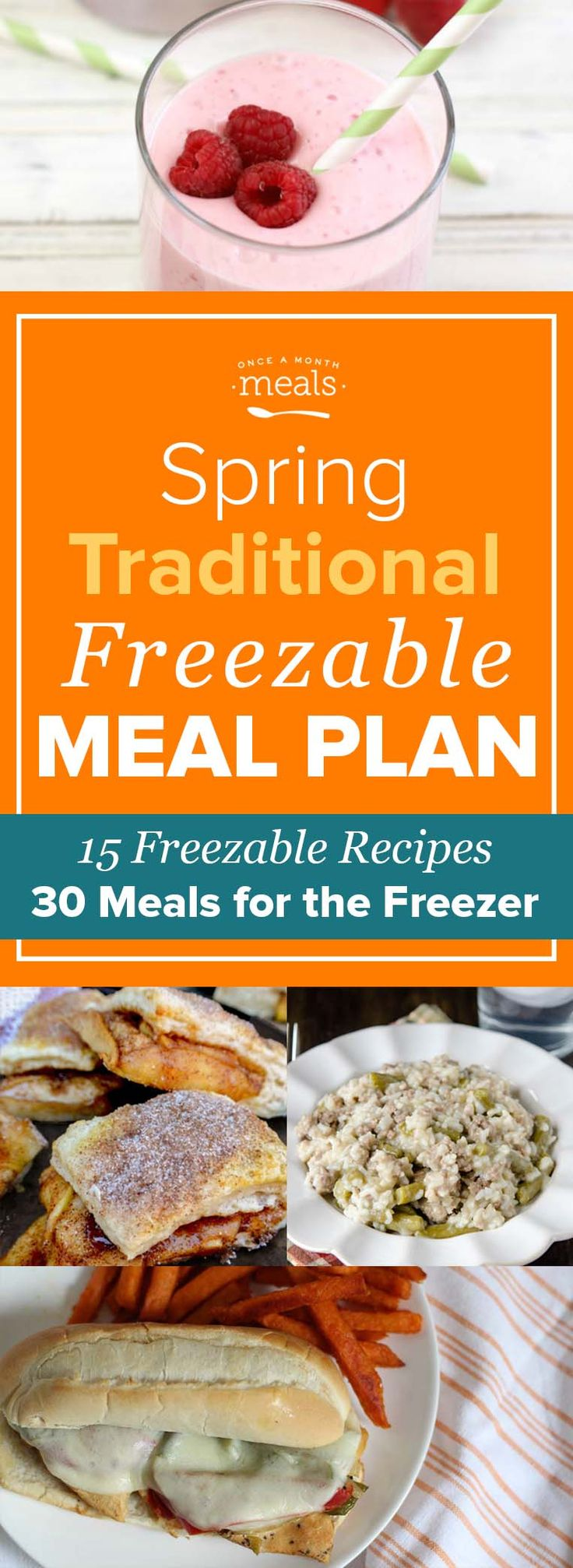This Spring Traditional Freezer Menu will help you stock up on delicious and easy freezer meals all while simplifying your meal planning and prep! via @onceamonthmeals