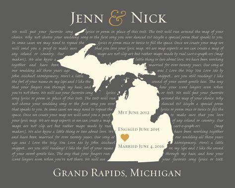 Wedding Song Lyric Wall Art, Custom Map Art, Personalized Wedding Gift, Michigan Map Art, Song Lyric Print, Lyrics on Canvas by KeepsakeMaps on Etsy