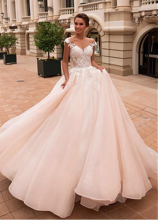Magbridal Gorgeous Tulle Off-the-shoulder Neckline Ball Gown Wedding Dresses Wit…