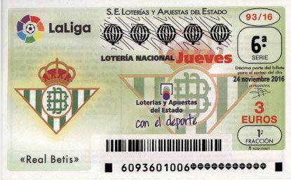 Esta semana el equipo de fútbol que va a darle imagen al décimo de lotería nacional es el Real Betis Balompié, ¿a qué esperas para coger tu décimo?