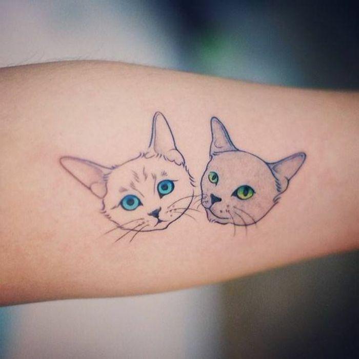 diese idee für zweil kleine katzen tattoos könnte ihnen sehr gut gefallen   hier sind zwei kleine katzen   eine katze mit blauen augen und eine katze mit grünen augen