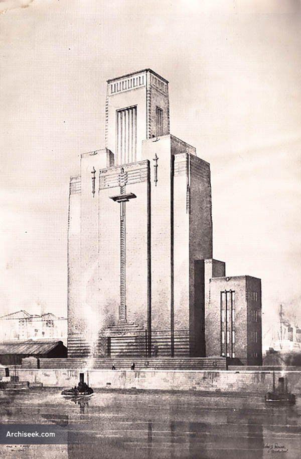 Art Deco Architects Drawing Of Ventilation Tower