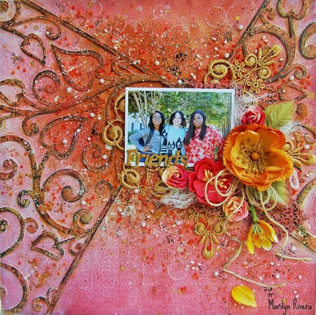 Marilyn Rivera- A page using The Queen's Heart collection by & Dots Studio, the beautiful chippies by 2 Crafty Chipboards and Prima Marketing art basics, art ingredients, flowers.
