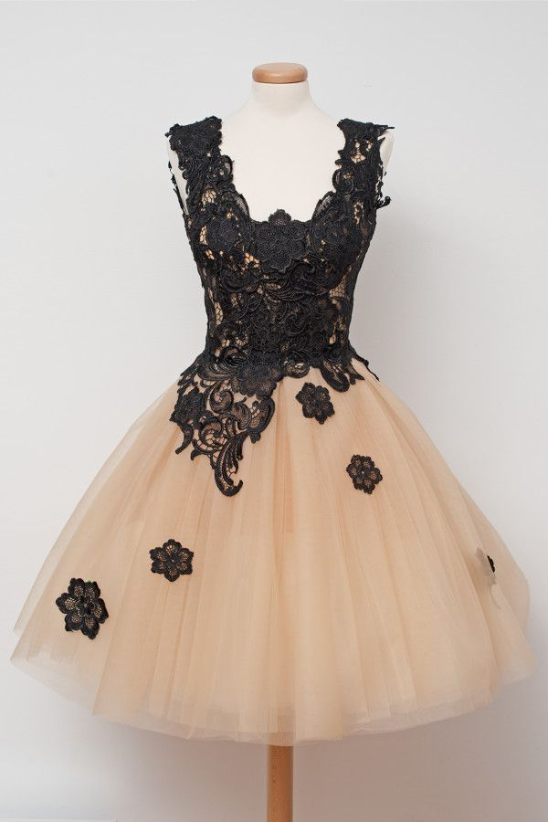 Sexy V Neck Lace Tulle A Line Sleeveless Cheap Mini Cocktail Dresses