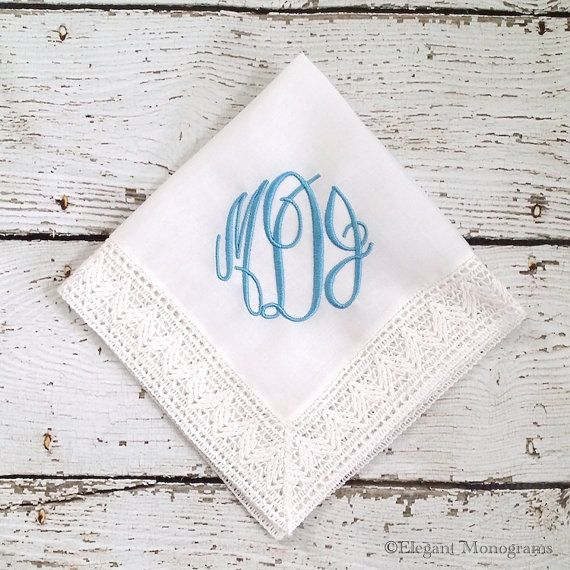 Monogrammed Something Blue Bridal Handkerchief Embroidered by HeatherStrickland
