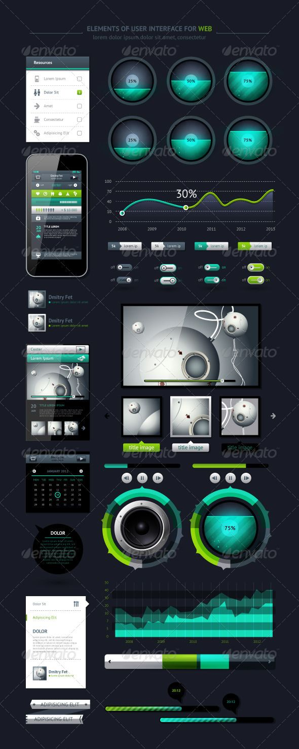 Creative and cheap elements of infographics with buttons and menus