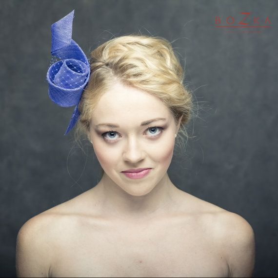 Modern cobalt blue fascinator with delicate by boZkaLuxuryHandmade