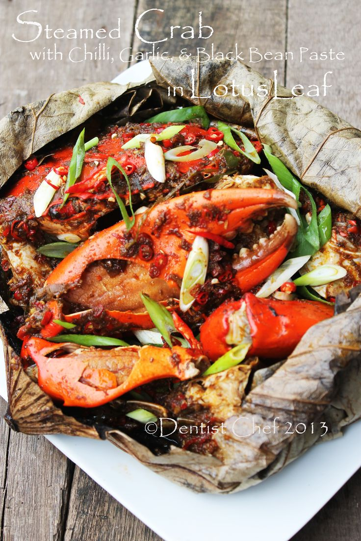 steam crab lotus leaf recipe spicy black bean paste chili garlic sauce