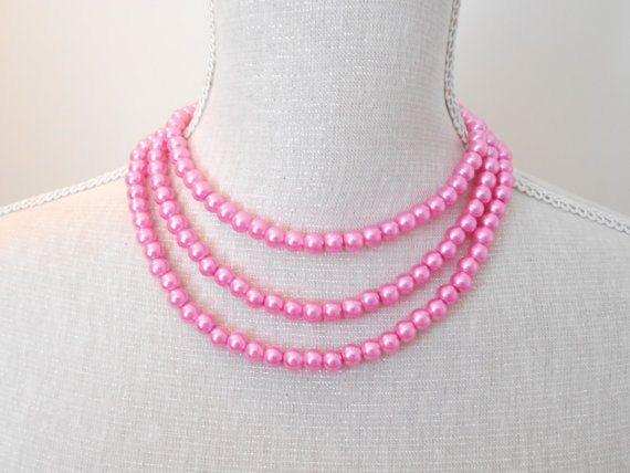 Long shocking pink Pearl necklace Wedding jewelry Wedding