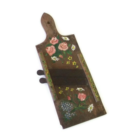 Rustic Primitive Painted Food Slicer Wooden by RescuedInTime, $18.00