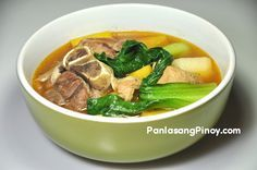 Pata Pochero is a soup dish composed of cut pork legs or pork hocks, potatoes, ripe saba banana (plantains), Calabaza squash (kalabasa), and bok choy (pechay). This simple soup recipe is very comforting. You can enjoy pochero during lunch or dinner.     The key to making a perfect pata pochero has something to do with the way the pork legs are cook