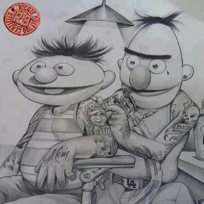 Street life.Ink Art, Sesame Street, Ernie, Sesamestreet, Funny, Sesame Ink, Bert, Tattoo Art, Tattooart