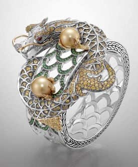 Cuff/ Bracelet | John Hardy.  Cinta Gold and Silver Naga with yellow South Sea pearl set in pavé of yellow sapphire, tsavorite, and light brown diamon