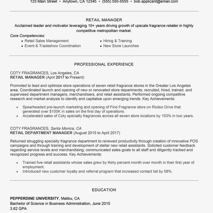 Sales Resume Examples 2017 Retail Management Cover Letter