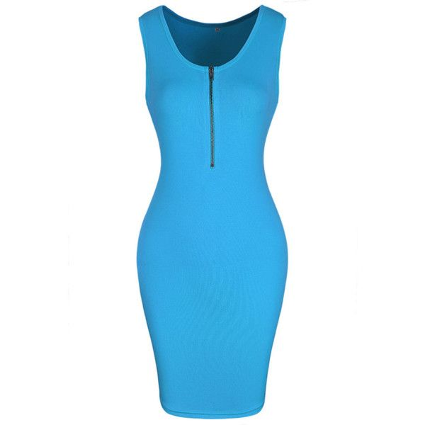 Fitted Round Neck Zips Solid Bodycon Dress ($23) ❤ liked on Polyvore featuring dresses, blue bodycon dress, blue body con dress, bodycon dress, short fitted dresses and blue zipper dress