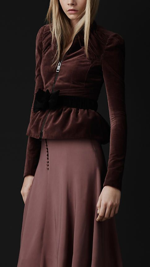 Velvet peplum jacket by Burberry