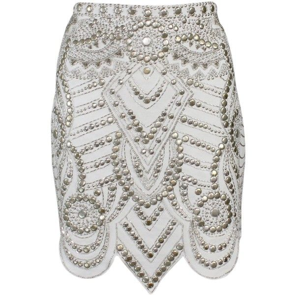 Embellished Pencil Skirt (43.530 HUF) ❤ liked on Polyvore featuring skirts, falda, saia, beaded skirt, scallop hem skirt, embellished skirts, scalloped skirts and embellished pencil skirt