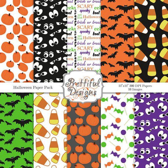 Digital Paper Pack  for Scrapbooking, Invitations, Card Making, Commercial Use  - Halloween (375)