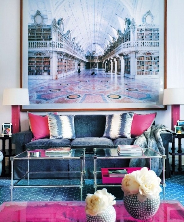 Hot Pink And Blue Sofa In Living Room