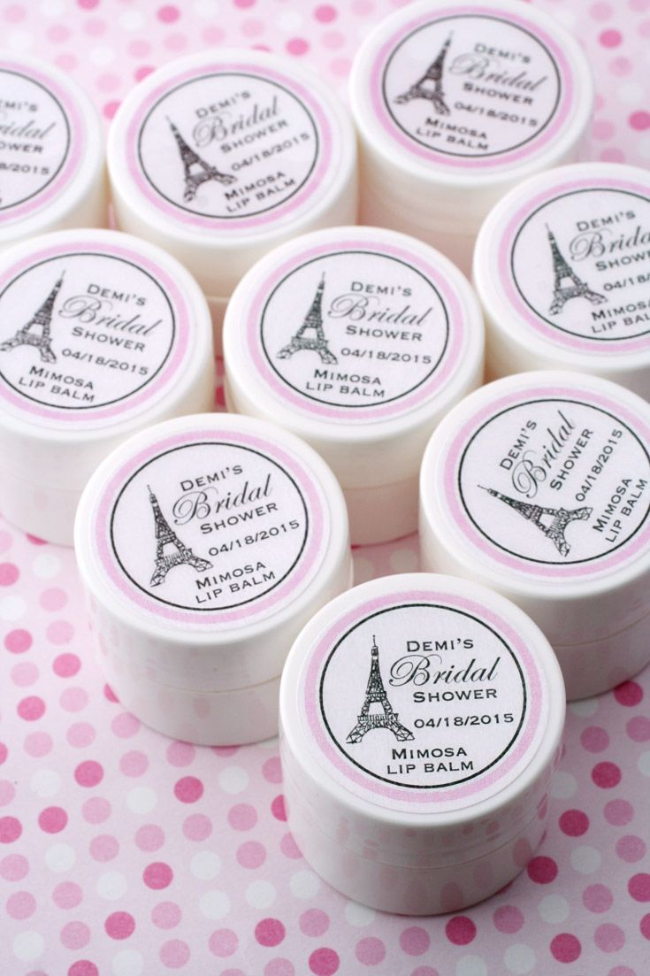 at that paris theme shower or party bridal shower lip balm favors can be personalized with your details and colors bridalshowerfavors paristheme