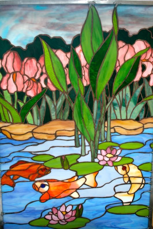 17 best images about koi stained glass on pinterest for Koi pond glass